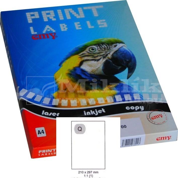 Etikety EMY PRINT 210 x 297 bílé - 100ks e62000f8f44